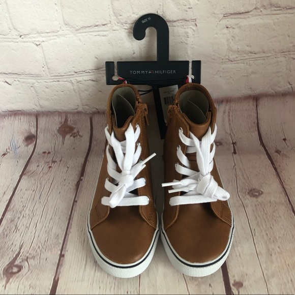 d09d64aa Tommy Hilfiger Shoes | Nwt Brown High Top Sneaker Toddler | Poshmark